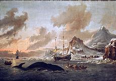Niederländische Walfänger bei Spitzbergen, von Abraham Storck, 1690