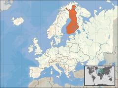 Finland op een kaart van Europa