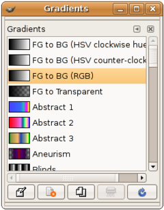 Kleurverloop dialoog in GNOME