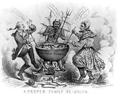 Politická karikatura z roku 1865 zobrazující Jeffersona Davise a Benedicta Arnolda v pekle.