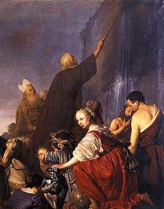 """""""Mozes slaat de rots"""" door Pieter de Grebber (1630)"""