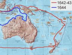 Kaart van Tasman's reizen