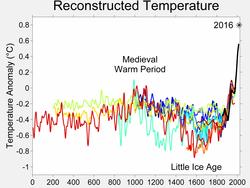 Het temperatuurverloop van de afgelopen 2000 jaar aan de hand van verschillende proxy-methoden