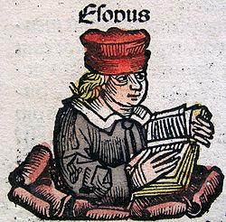 Aesop, zoals afgebeeld in de Kroniek van Neurenberg. Hij is afgebeeld in 15e eeuwse Duitse kleding, in plaats van in traditioneel Grieks gewaad.