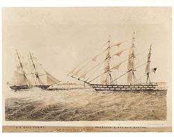 1850年6月6日,美国军舰佩里号在安布里斯附近与奴隶船玛莎号对峙。