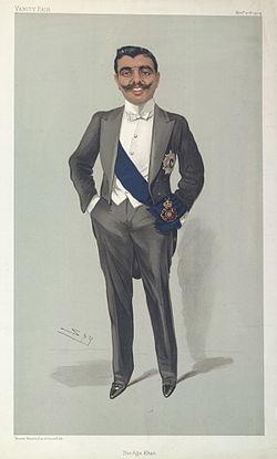 De Aga Khan in 1904. Chromolithografie van 'Spy' in Vanity Fair magazine