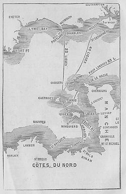 De kaart van Kanaaleiland, toont de ligging van Casquets