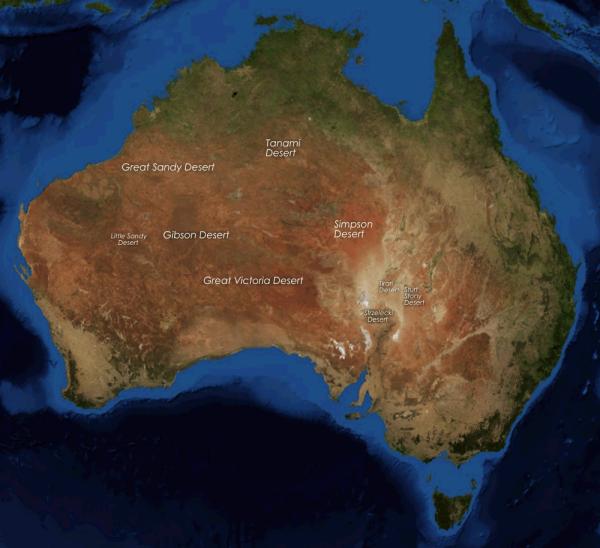 Localização dos desertos na Austrália