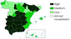 Przewaga walk byków na prowincji hiszpańskiej w XIX wieku.