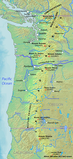Kaart van de Cascade Range met de belangrijkste vulkanische pieken