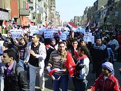 Demonstranten marcheren op de Dag van de Woede.
