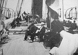 Dek van USRC Wayanda, ca. 1863. De zittende figuur van Abraham Lincoln zou later zijn toegevoegd