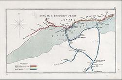 Een schema uit 1910 van het spoorwegopruimingscentrum met de Tay Bridge en de verbindingslijnen, en de veerboot die Tayport verbindt met Broughty Ferry