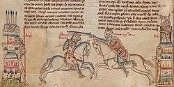 Middeleeuwse impressie: Edmund Ironside (links) en Cnut (rechts)