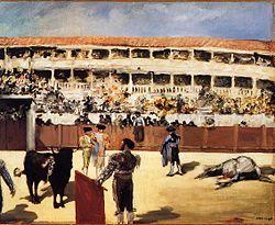 """Obraz """"Walka byków"""" autorstwa Édouarda Maneta."""