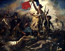 De vrijheid die het volk leidt (Eugène Delacroix, 1830) is een bekend voorbeeld van nationalistische kunst.