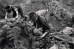 Mensen gedood in het bloedbad van Srebrenica worden uit massagraven gehaald