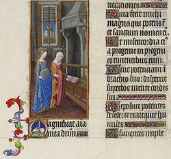 De Visitatie (wanneer de engel Elizabeth en Maria bezoekt) in het getijdenboek van de Duc de Berry