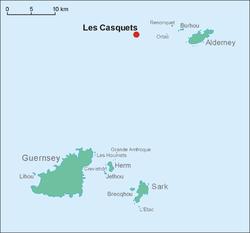 Kaart van Les Casquets