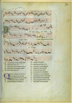 Ein frühes Beispiel für geschriebene Musik: Manuskript eines Stückes des mittelalterlichen Komponisten Guillaume de Machaut
