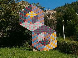 Op-art door Victor Vasarely in Pécs, Hongarije.