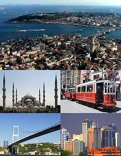 De historische stad Istanbul (Turkije) met enkele opmerkelijke bezienswaardigheden.