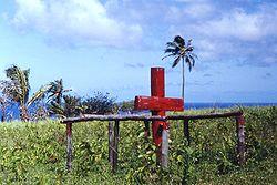Ceremonieel kruis van John Frum vrachtcultus, Tanna-eiland, Nieuwe Hebriden (nu Vanuatu), 1967