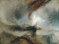 Sniego audra - garlaivis prie uosto žiočių duoda signalus seklumoje ir plaukia pasroviui, nutapytas 1842 m.