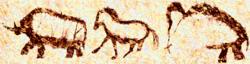 Paläolithische Höhlenmalereien von vor über 15.000 Jahren an einer Höhlenwand in Russland