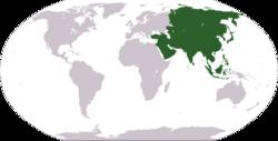 Weltkarte zeigt, wo Asien liegt