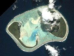 Een luchtfoto van Manuae