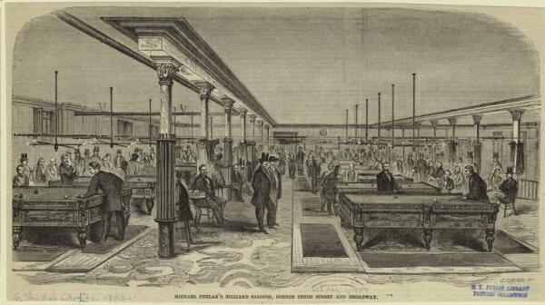 Historische prent die Michael Phelan's Billiard Saloon afbeeldt, gelegen op de hoek van 10th Street en Broadway in Manhattan, 1 januari 1859.