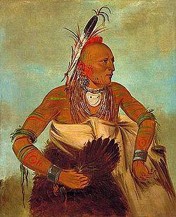 Osage karys iš Wha-sha-she grupės, George'o Catlino paveikslas, 1834 m.