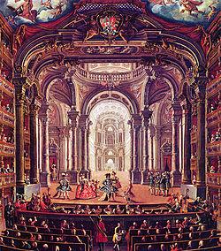 18e eeuws schilderij van de Koninklijke Schouwburg van Turijn, door Pietro Domenico Oliviero