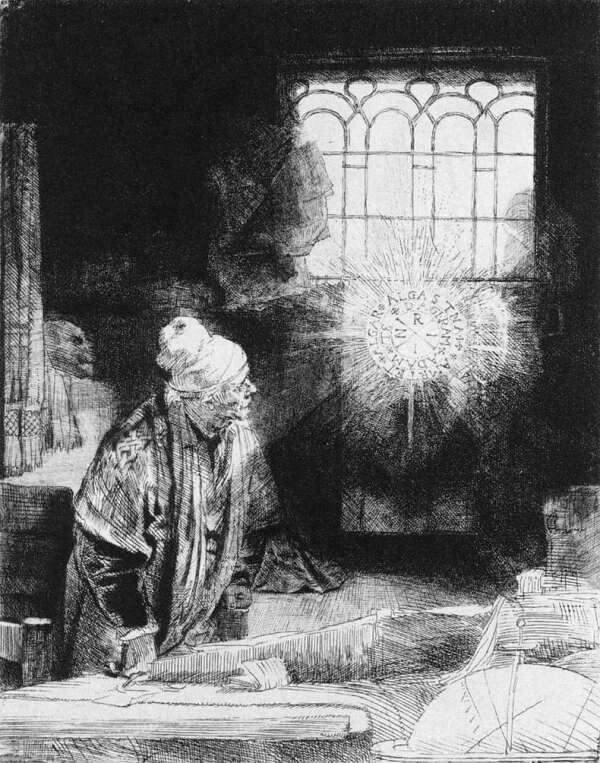 Faust in een ets van Rembrandt van Rijn (ca. 1650).