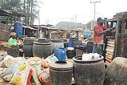 Verwijdering van cyanide uit cassave in Nigeria.