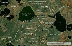 マヤック遺跡周辺の衛星画像