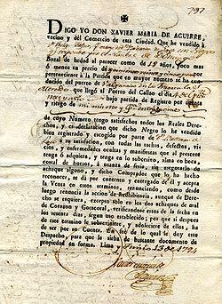 Slavencontract Lima/Peru 13/10/1794