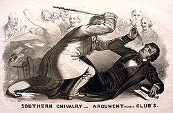 Een lithografische spotprent uit 1856 van Preston Brooks' aanval op Charles Sumner in de Senaat van de V.S. over het slavernijvraagstuk