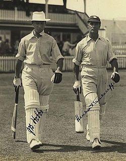 Hobbs en Sutcliff komen voor Engeland vechten tegen Australië, Brisbane 1928.