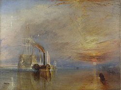 """Laivas """"Fighting Temeraire"""" tempiamas į paskutinę prieplauką, kad būtų išardytas, 1839 m."""