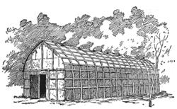 Ein traditionelles Langhaus der Irokesen.