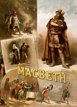 Macbeth , met veel afgebeelde delen. Linksboven: Banquo en Macbeth ontmoeten de heksen. Midden-links: Macbeth heeft zojuist Duncan vermoord, en praat met zijn vrouw. Onder-links: Banquo's geest. Rechtsonder: Macduff duelleert met Macbeth.