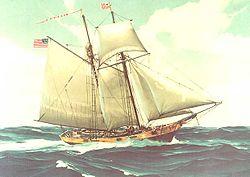schilderij van een kotter van de fiscale marine (de Massachusetts (1791), of zijn vervanger, de Massachusetts II)