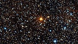Dicht sterrenveld rond de rode hyperreus UY Scuti. Het is de helderste ster in het beeld. Genomen in het Rutherfurd Observatorium in Columbia University, New York, 2011