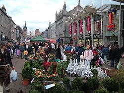 Union Street, Aberdeen, op Internationale Marktdag