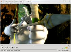 Een screenshot van VLC media player die Big Buck Bunny afspeelt