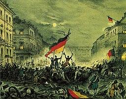 Juichende revolutionairen na gevechten in maart 1848