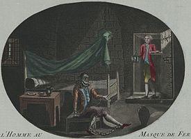 L'Homme au Masque de Fer (De man met het ijzeren masker). Anonieme prent (ets en mezzotint, met de hand ingekleurd) uit 1789. Volgens het bijschrift op het origineel (hier niet te zien) was de Man met het IJzeren Masker Louis de Bourbon, comte de Vermandois, een buitenechtelijke zoon van Lodewijk XIV.