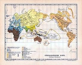 """Kaart van Meyers (1885-90) met uitsplitsing van Hongaren, Finnen, Amerikaanse Indianen (Amerindianen) en Turkische volkeren bij het """"Mongoloïde ras"""" en Semieten bij het """"blanke ras"""""""